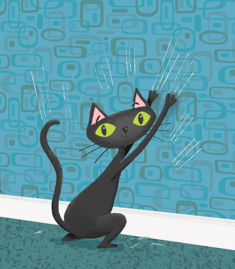 retro cat, cat, cat scratching,