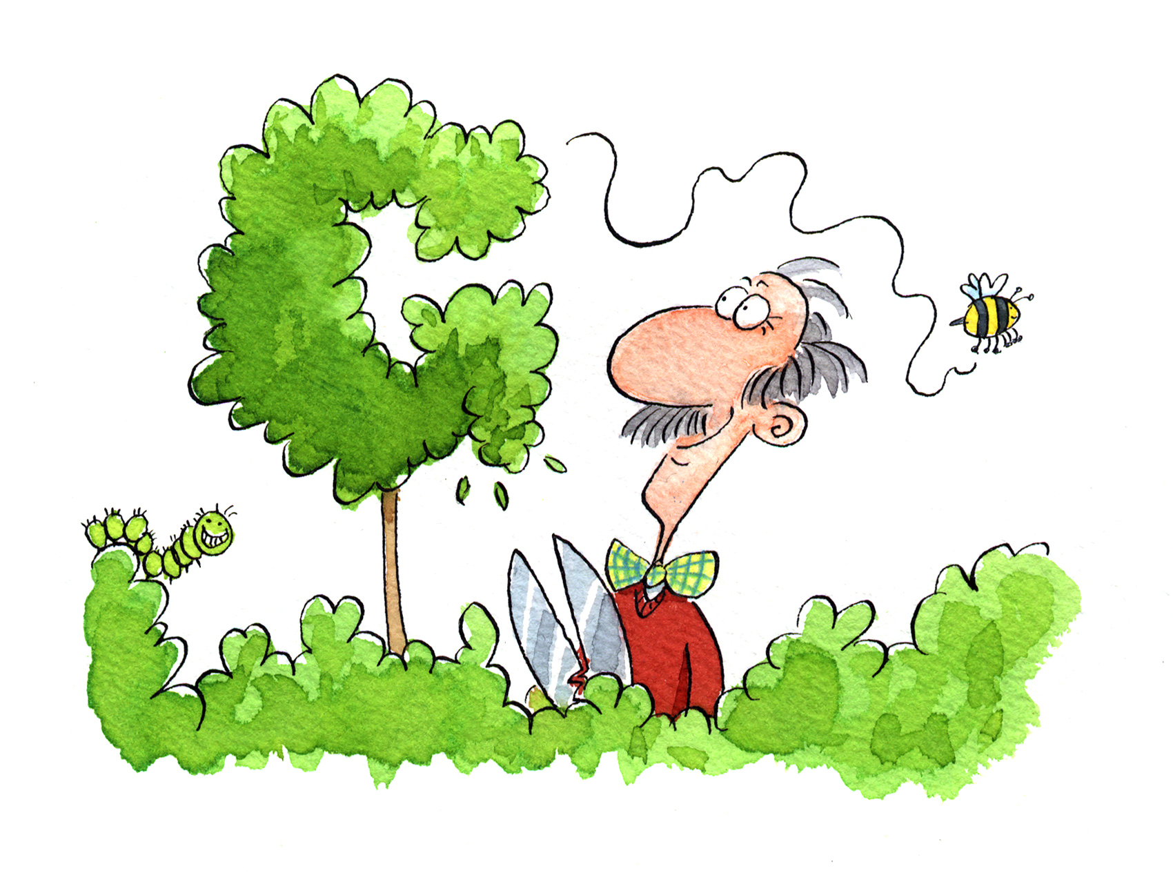 topiary, cartoon topiary, watercolour, gardener, man pruning hedge
