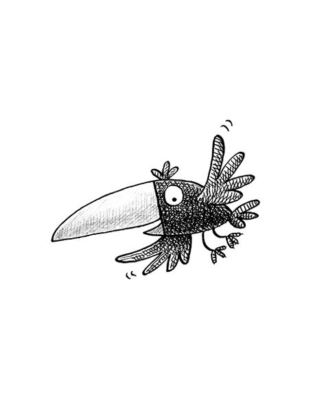 pen and ink cartoon bird