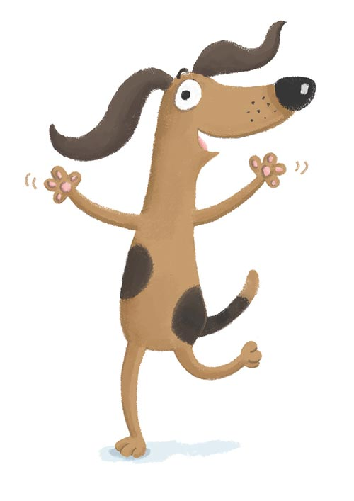 Happy dog illustration.