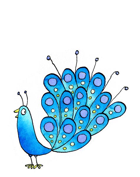 watercolour cartoon bird
