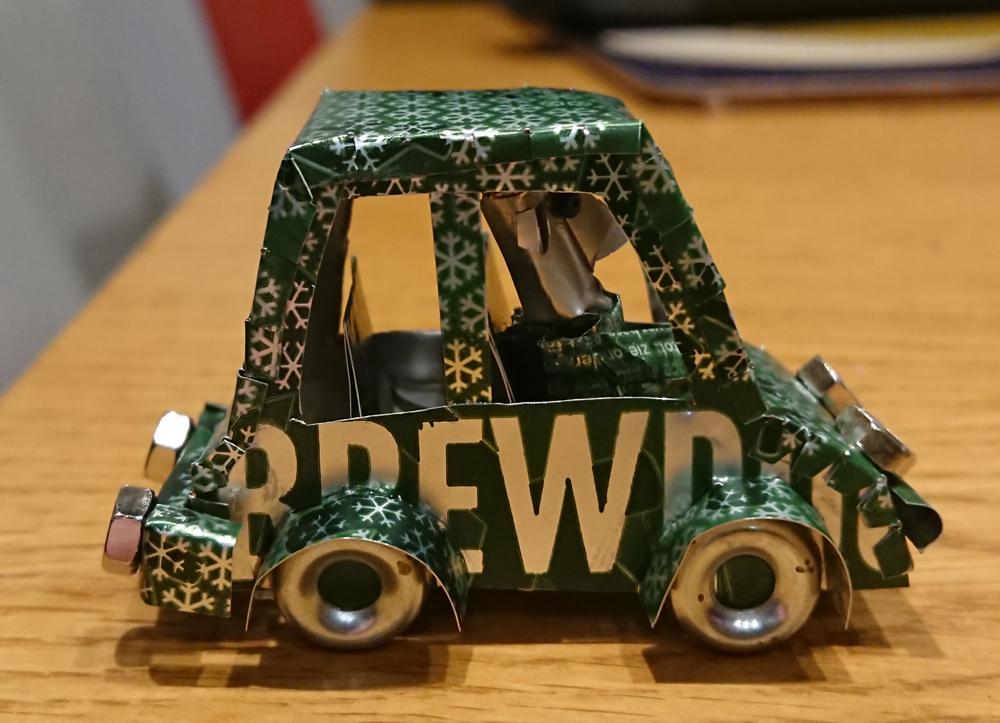 brewdog car, metal sculpture, upcycling